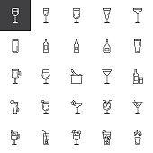 Cocktails line icons set