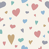 Seamlees pattern with hand drawn hearts. Valentine's Day, Mother's Day and Women's Day. Vector