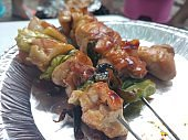 Yakitori (Grilled chicken), Japanese dish of chicken pieces grilled on skewer