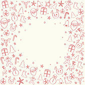 Christmas garland with ornaments and copyspace. Vector.