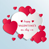 Valentine's Day - colorful greeting card with cute paper hearts. Vector