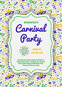 Design of Carnaval Party invitation with colorful pattern. Vector