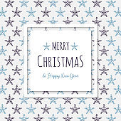 Christmas wishes - hand drawn greeting card with snowflakes. Vector.