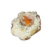 Top view of fried egg isolated on white background. With clipping path