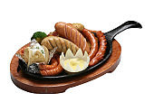 Grilled sausage on white background