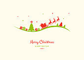 Design of Christmas greeting card with with cartoon Santa Claus and reindeers. Vector.