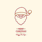 Concept of Christmas card with hand drawn Santa Claus. Vector.