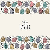 Hand drawn Easter greeting card with eggs. Vector