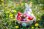 Easter eggs basket with rabbit
