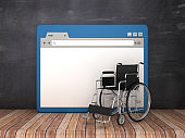 Web Browser with Wheelchair on Chalkboard Background  - 3D Rendering