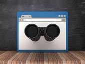 Web Browser with Binoculars on Chalkboard Background  - 3D Rendering