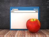 Web Browser with Apple on Chalkboard Background  - 3D Rendering