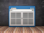 Web Browser with Closed Window on Chalkboard Background  - 3D Rendering