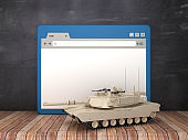 Web Browser with War Tank on Chalkboard Background  - 3D Rendering