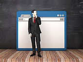 Web Browser with Business Person on Chalkboard Background  - 3D Rendering