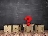 Cardboard Boxes with Question Mark in Room - Chalkboard Background - 3D Rendering