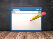 Web Browser with Pencil on Chalkboard Background  - 3D Rendering