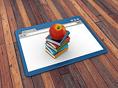 Web Browser with Books and Apple on Wood Floor Background  - 3D Rendering