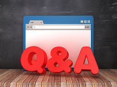 Web Browser with Q&A on Chalkboard Background  - 3D Rendering