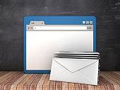 Web Browser with Envelopes on Chalkboard Background  - 3D Rendering