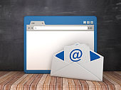 Web Browser with Email Envelope on Chalkboard Background  - 3D Rendering
