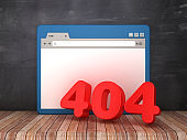 Web Browser with 404 Error on Chalkboard Background  - 3D Rendering