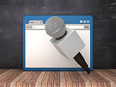 Web Browser with Microphone on Chalkboard Background  - 3D Rendering