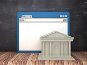 Web Browser with Bank Building on Chalkboard Background  - 3D Rendering