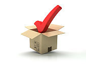 Cardboard Box with Check Mark - 3D Rendering