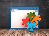 Web Browser with Puzzle on Chalkboard Background  - 3D Rendering