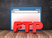 Web Browser with FTP on Chalkboard Background  - 3D Rendering