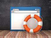 Web Browser with Life Belt on Chalkboard Background  - 3D Rendering