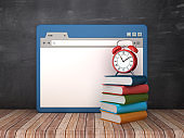 Web Browser with Books and Clock on Chalkboard Background  - 3D Rendering