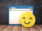Web Browser with Smile Emoticon on Chalkboard Background  - 3D Rendering