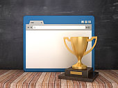 Web Browser with Trophy on Chalkboard Background  - 3D Rendering