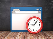 Web Browser with Clock on Chalkboard Background  - 3D Rendering