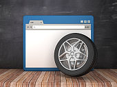 Web Browser with Car Wheel on Chalkboard Background  - 3D Rendering