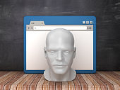 Web Browser with Human Head on Chalkboard Background  - 3D Rendering