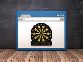 Web Browser with Electronic Dartboard on Chalkboard Background  - 3D Rendering