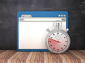 Web Browser with Stopwatch on Chalkboard Background  - 3D Rendering