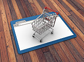 Web Browser with Shopping Cart on Wood Floor Background  - 3D Rendering