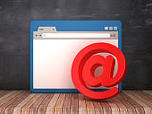 Web Browser with Email Symbol on Chalkboard Background  - 3D Rendering