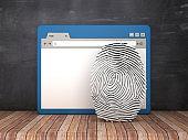 Web Browser with Fingerprint on Chalkboard Background  - 3D Rendering