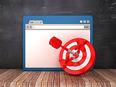 Web Browser with Target and Darts on Chalkboard Background  - 3D Rendering
