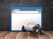 Web Browser and Computer Mouse with Wheels on Chalkboard Background  - 3D Rendering