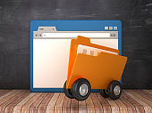 Web Browser and Computer Folder with Wheels on Chalkboard Background  - 3D Rendering