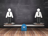 Seesaw Scale with Pictogram Business People on Chalkboard Background - 3D Rendering