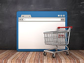 Web Browser with Shopping Cart on Chalkboard Background  - 3D Rendering