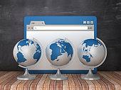 Web Browser with Desktop Globes on Chalkboard Background  - 3D Rendering