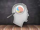 Human Head Shape with Magnifying Glass and Brain on Chalkboard Background - 3D Rendering